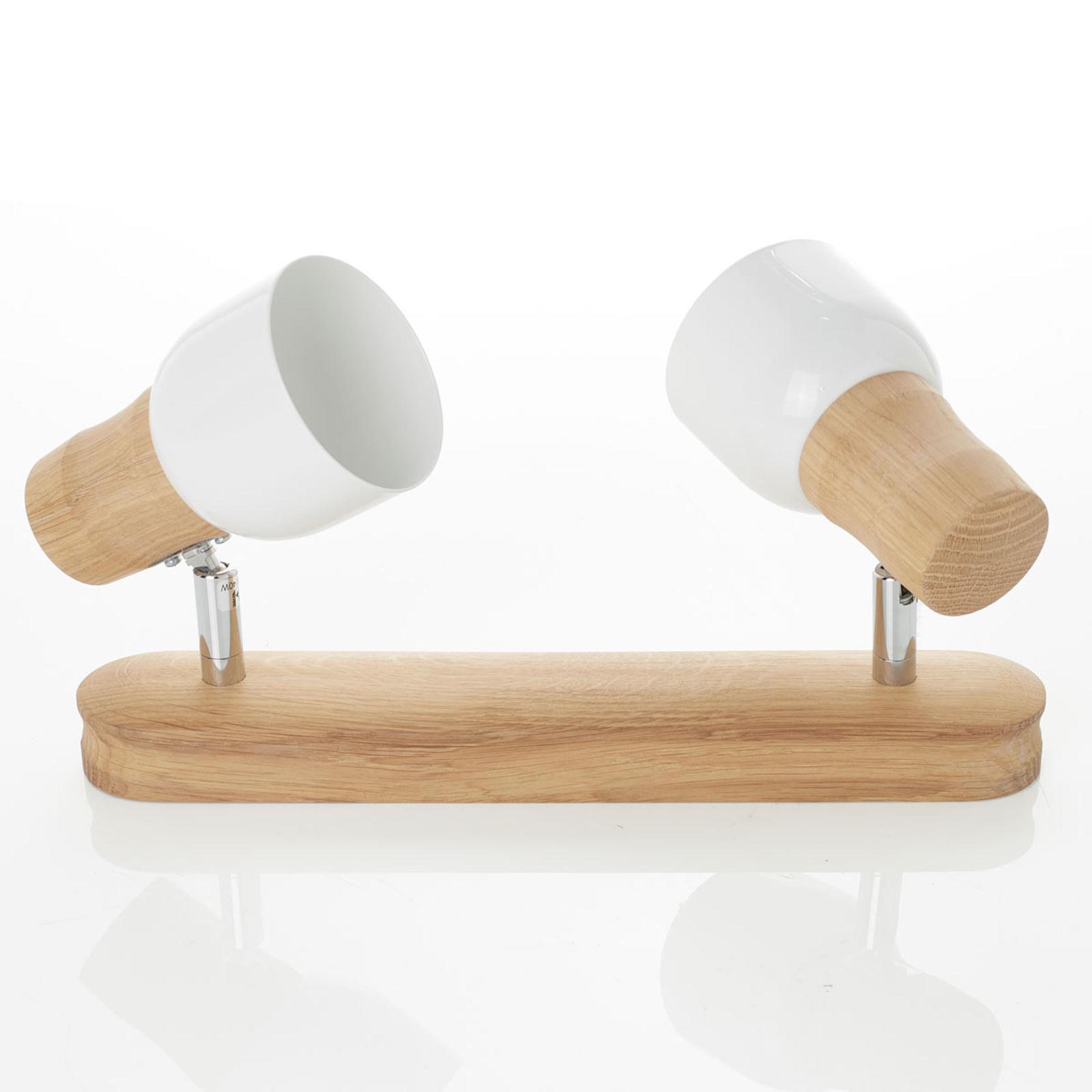 Plafonnier Svantje en bois à 2 lampes