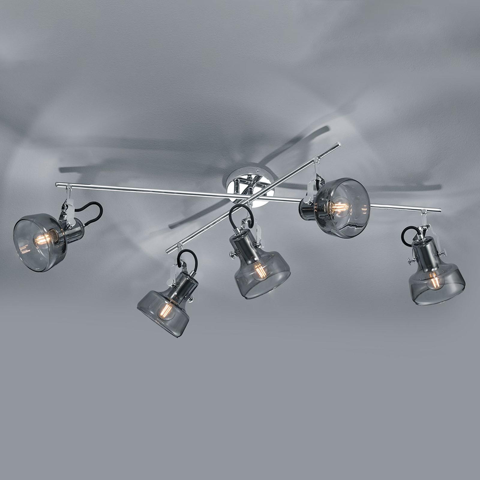 Plafondlamp Kolani met vijf lampjes