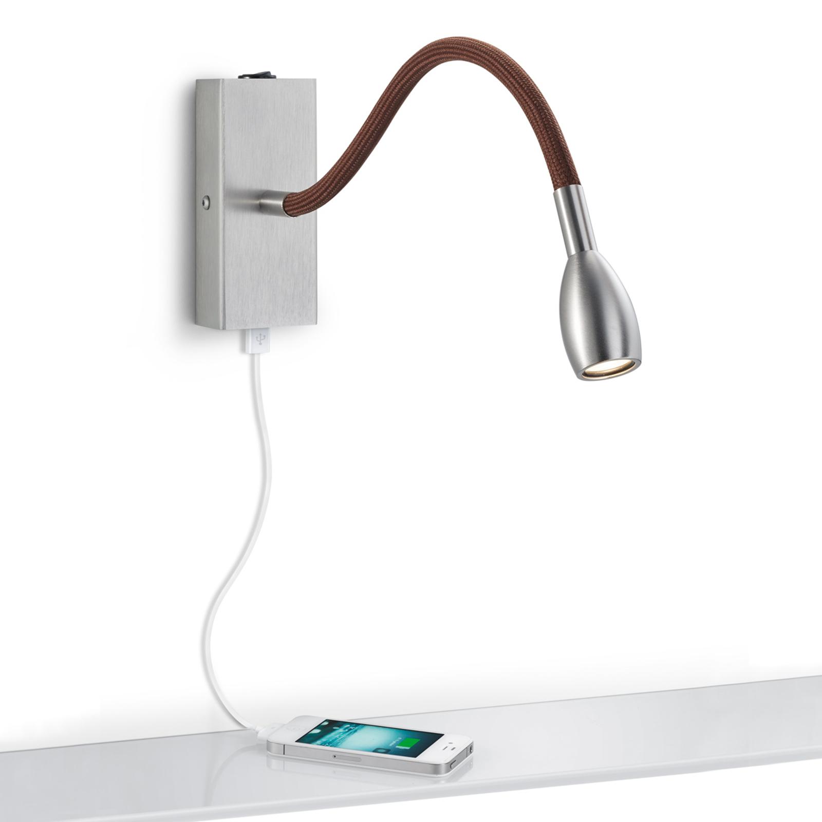 Matgrijze LED wandlamp Milos, bruine stof