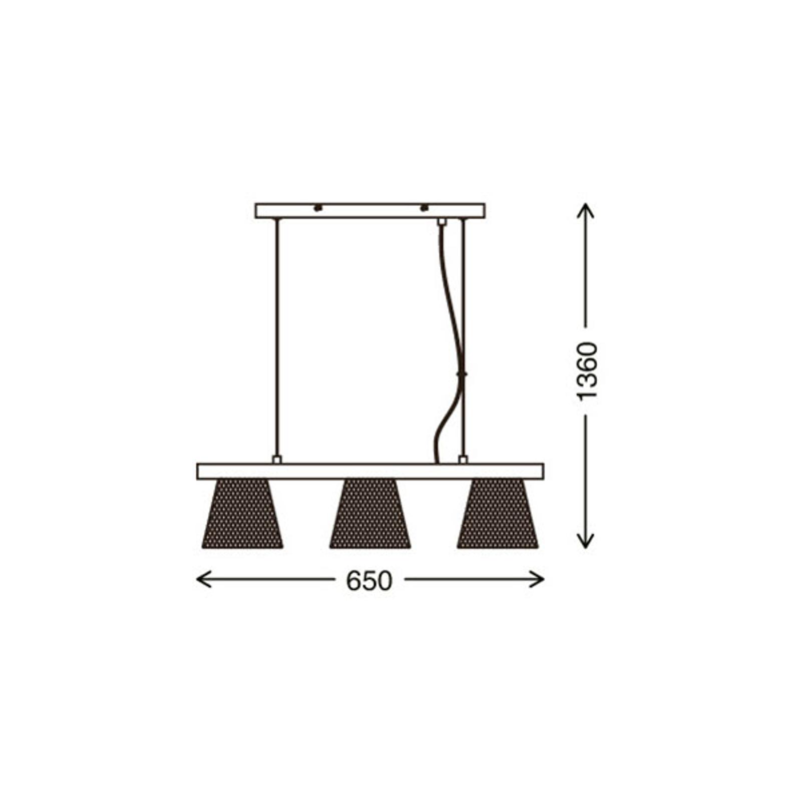 Lampa wisząca Wood & Style 4077, długa, 3-pkt.