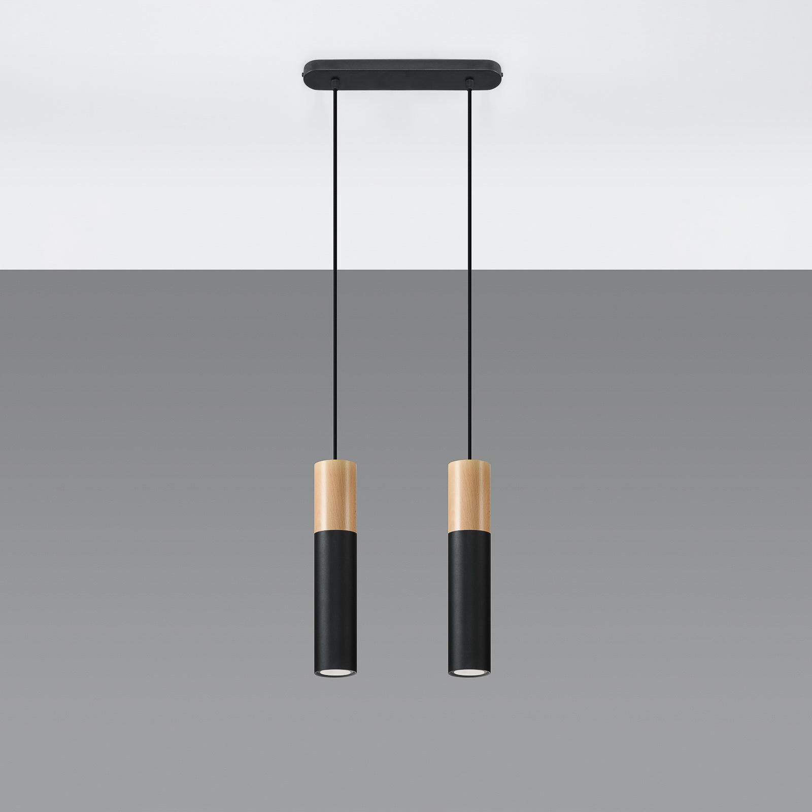 Suspension Tube, bois, noir, à deux lampes