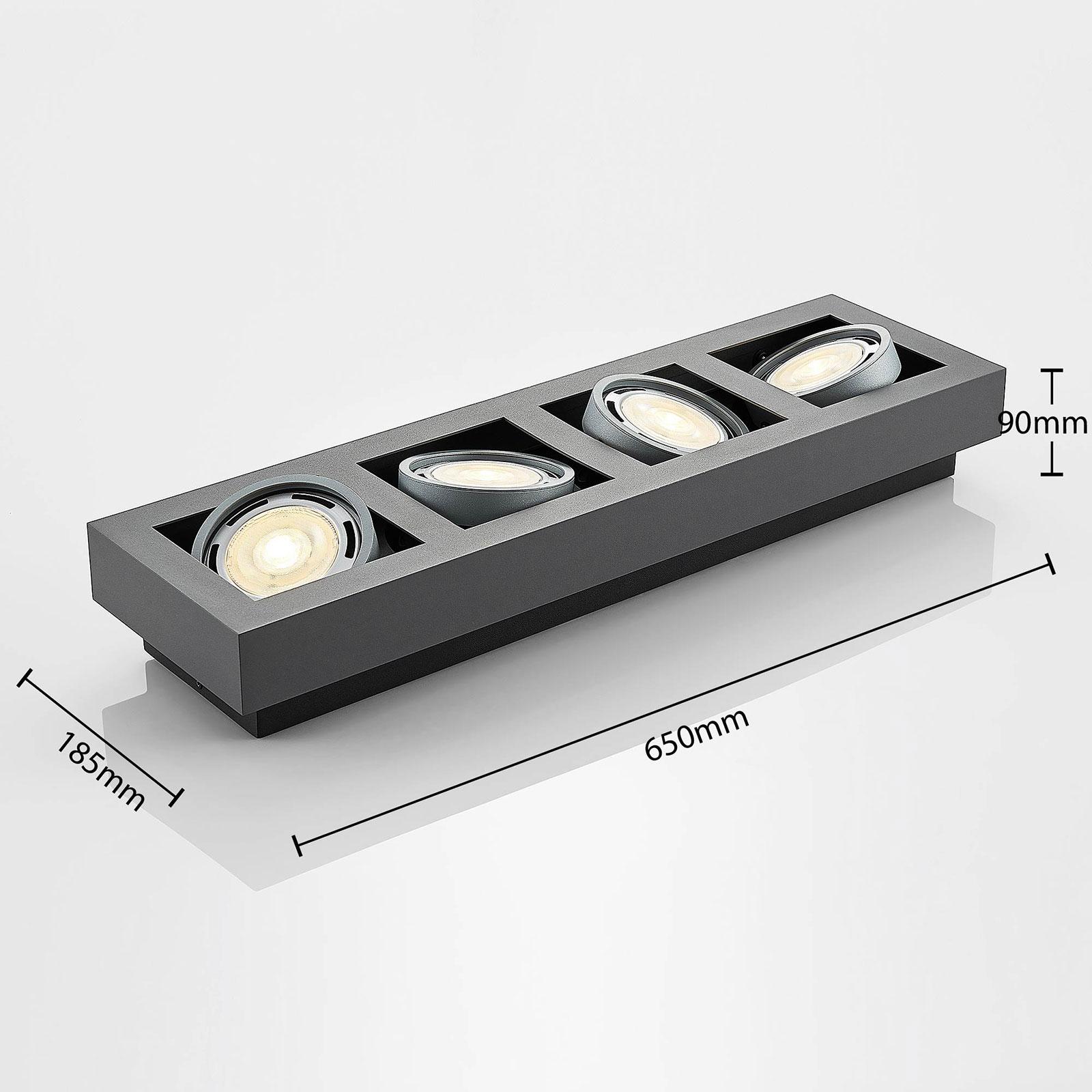 LED takspot Ronka, 4 lyskilder, lang, grå   Lampegiganten.no