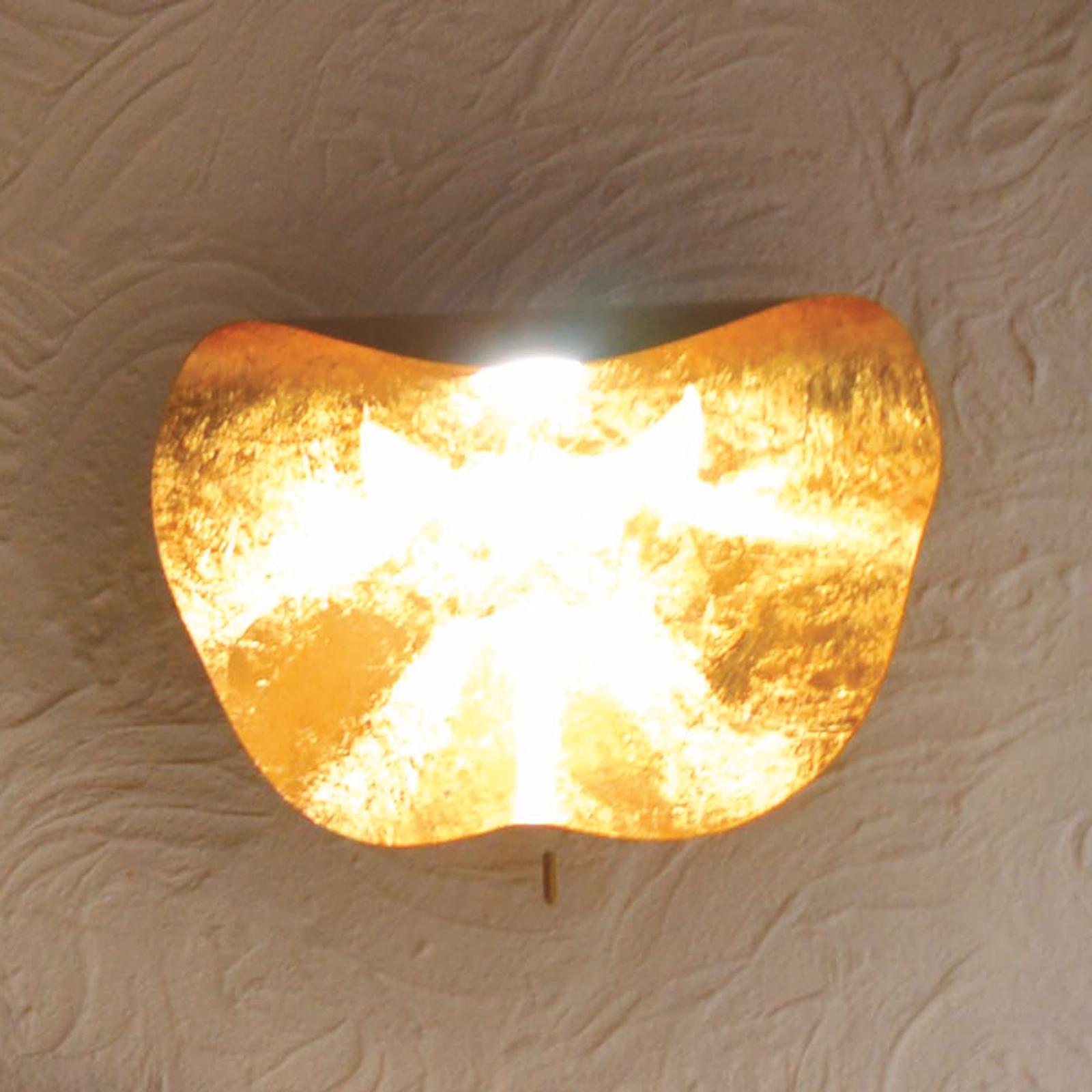 Ręcznie wykonany kinkiet LED Non So 40cm, złoty