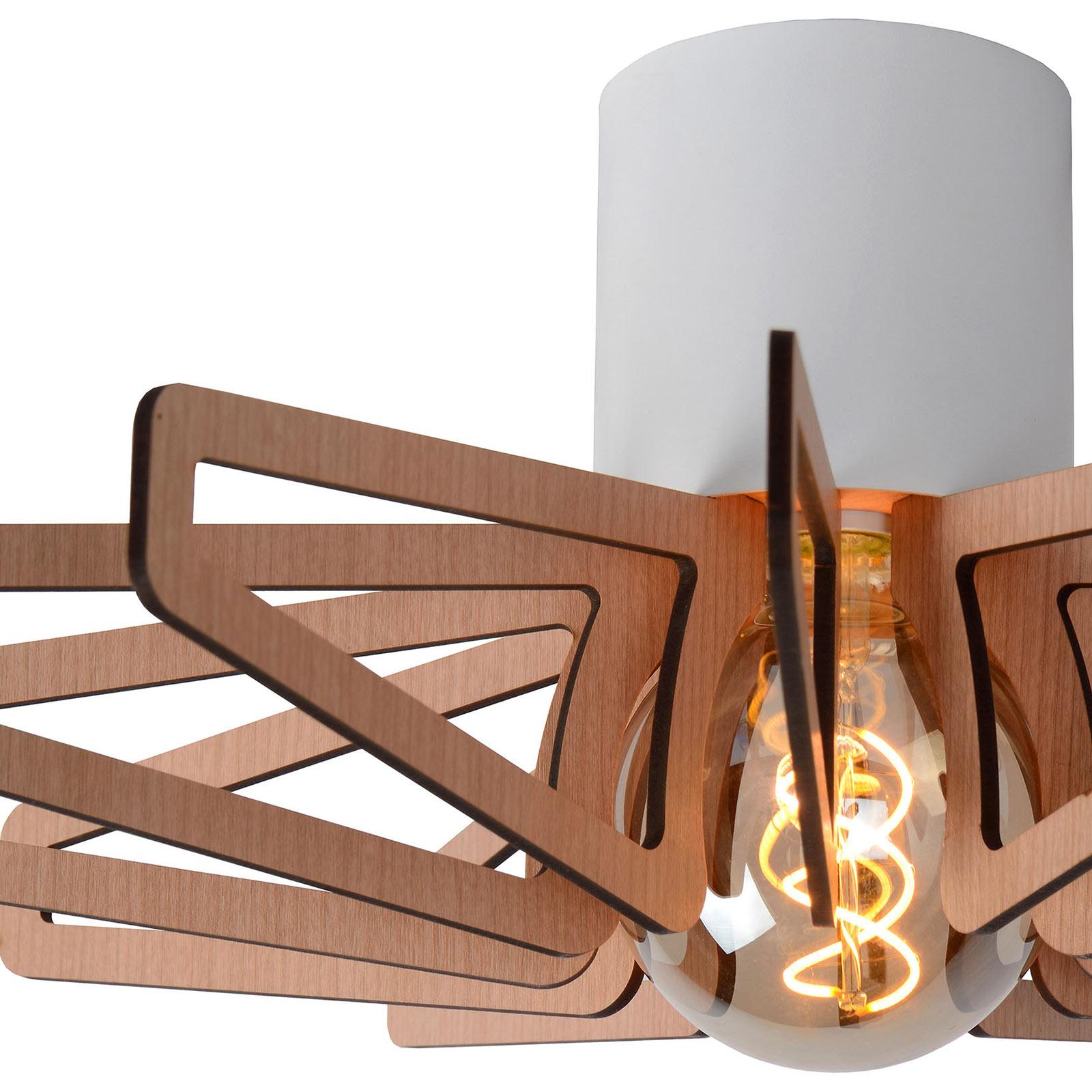 Plafondlamp Zidane 45 cm wit met houten elementen