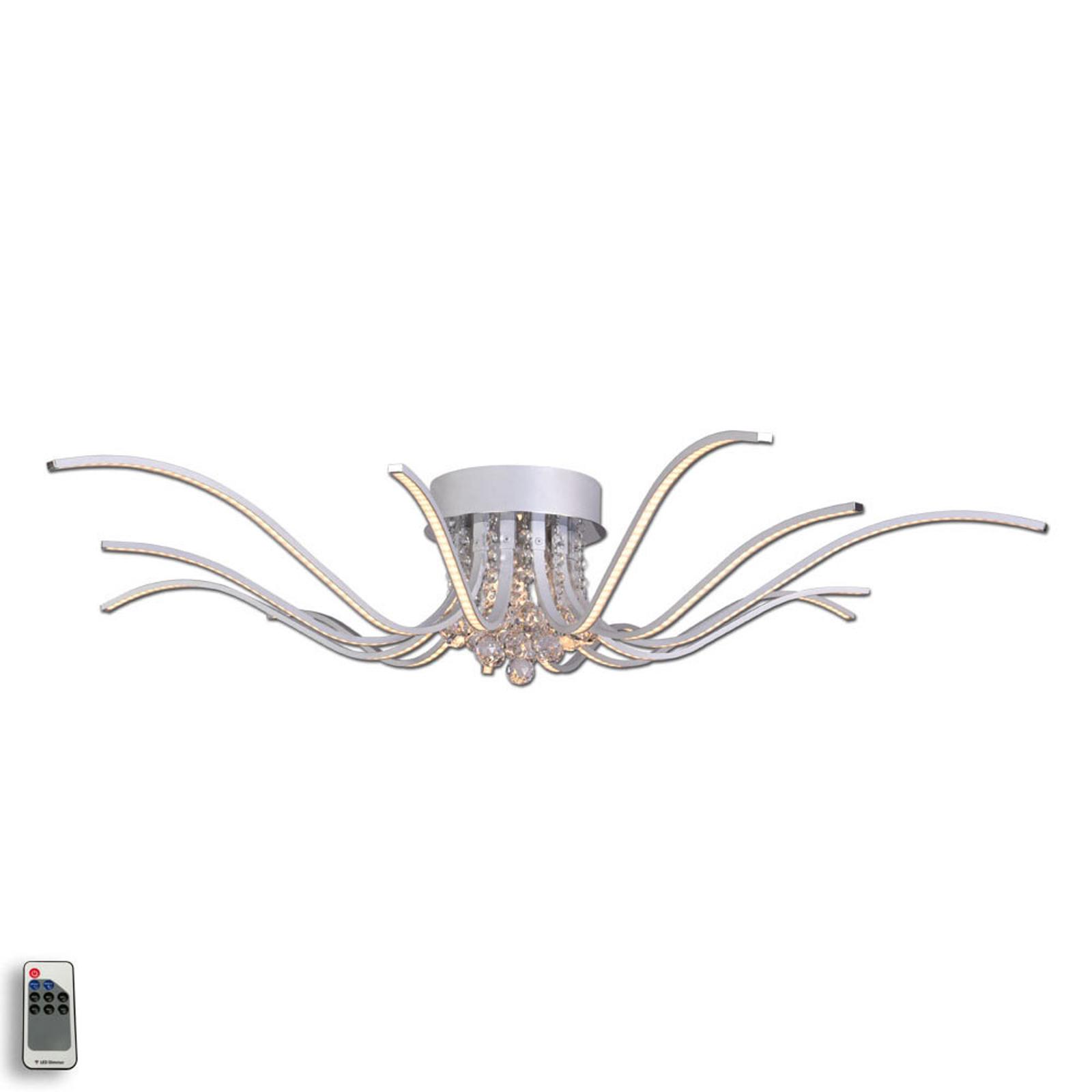 Lumenos LED-taklampe med krystaller, alu
