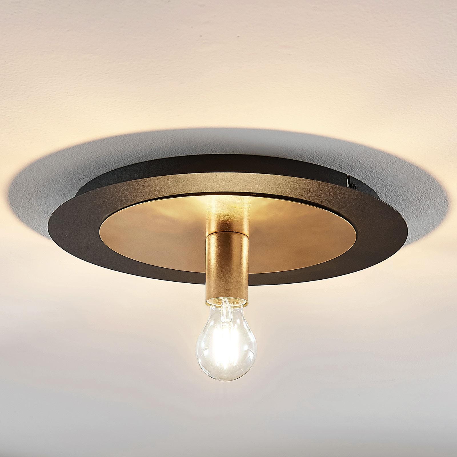 Metalen plafondlamp Justik, één lampje, zwart