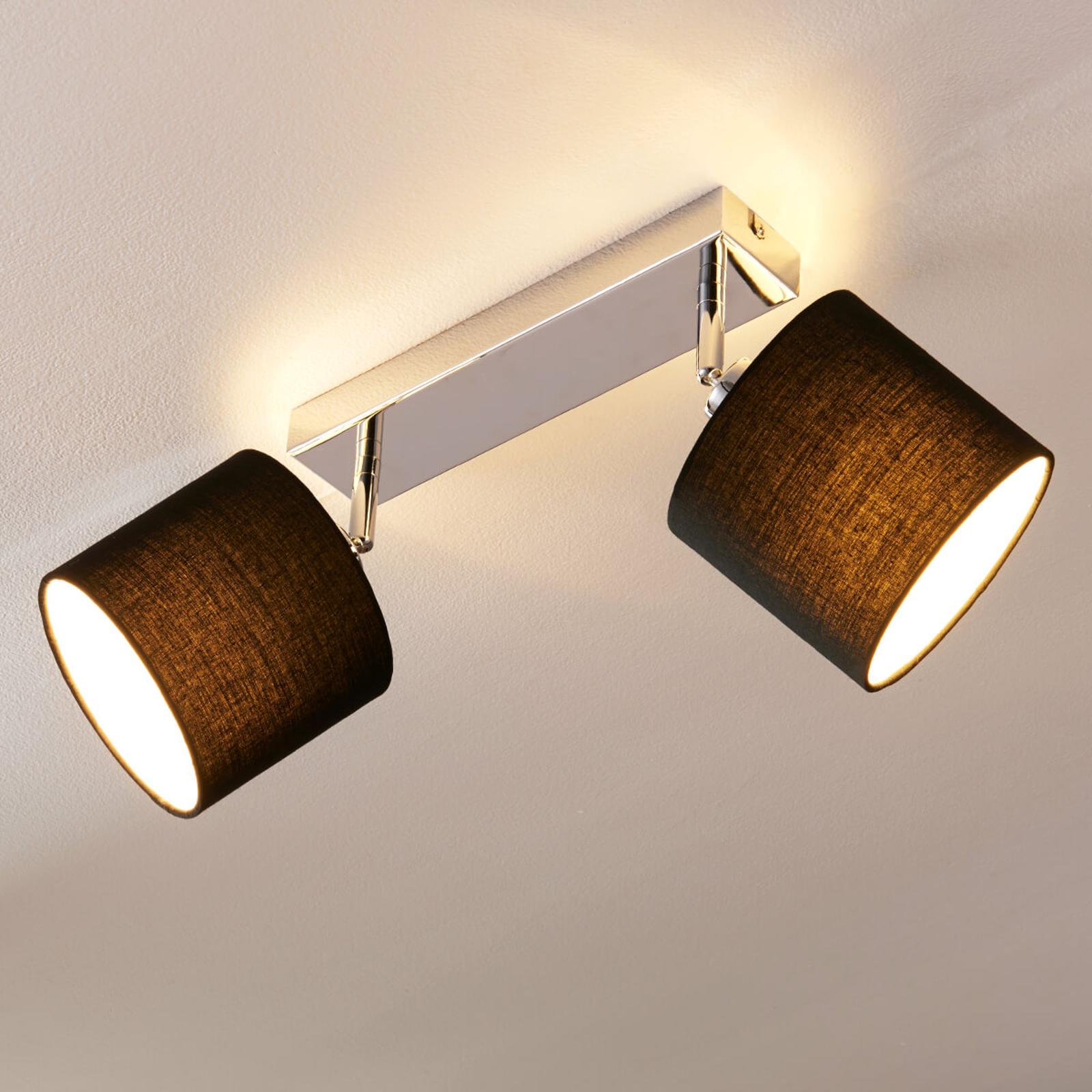 Stropní LED lampa se stínidlem, 2bodová černá