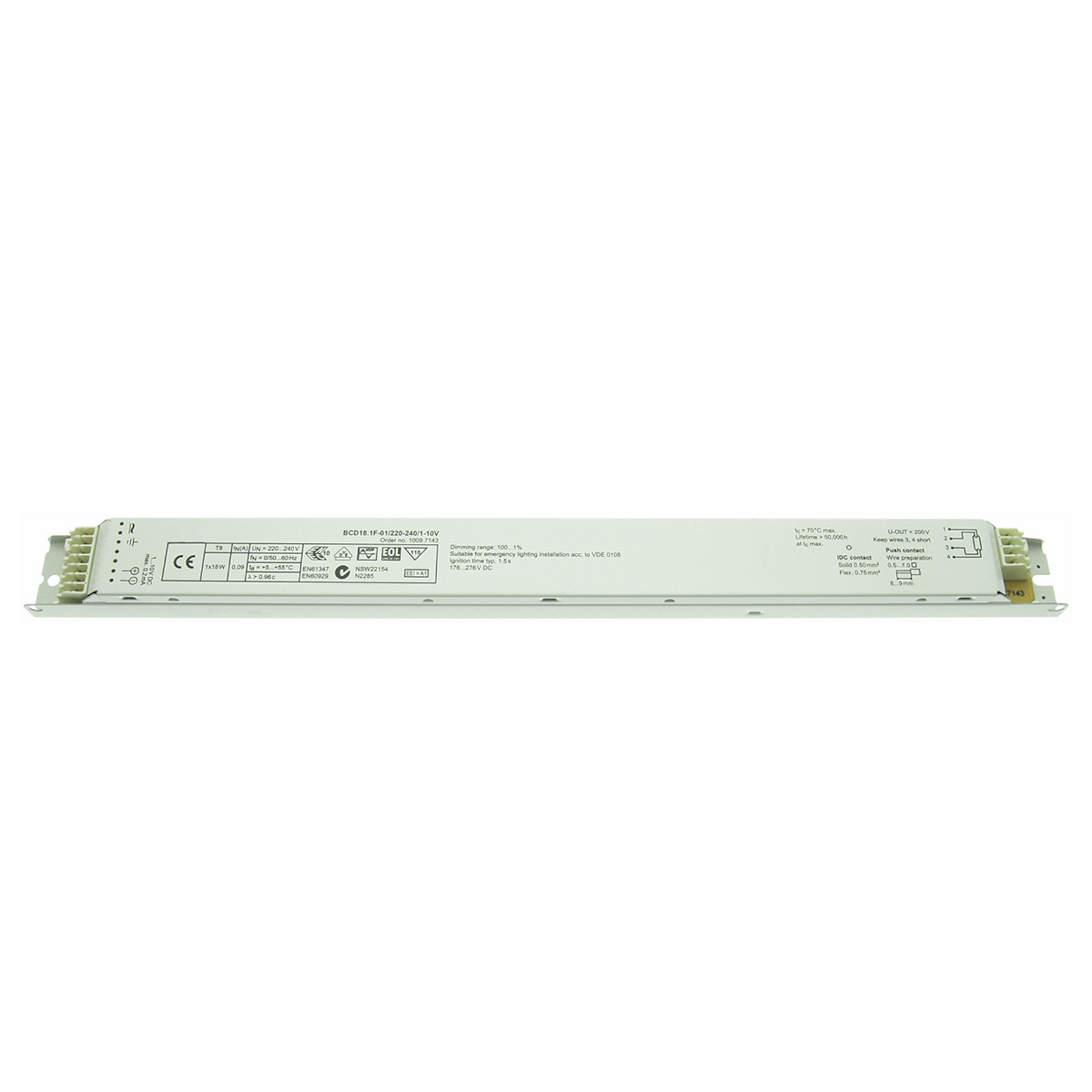 Dimmbares EVG 18/30 W T8 BCD18.1F-01/220-240/1-10V
