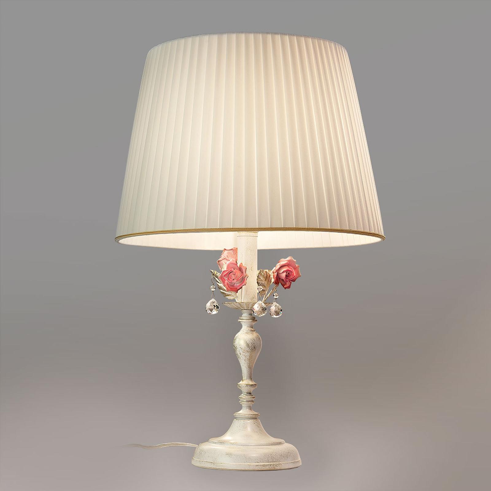 Lampada da tavolo Fiore con fiori di rosa