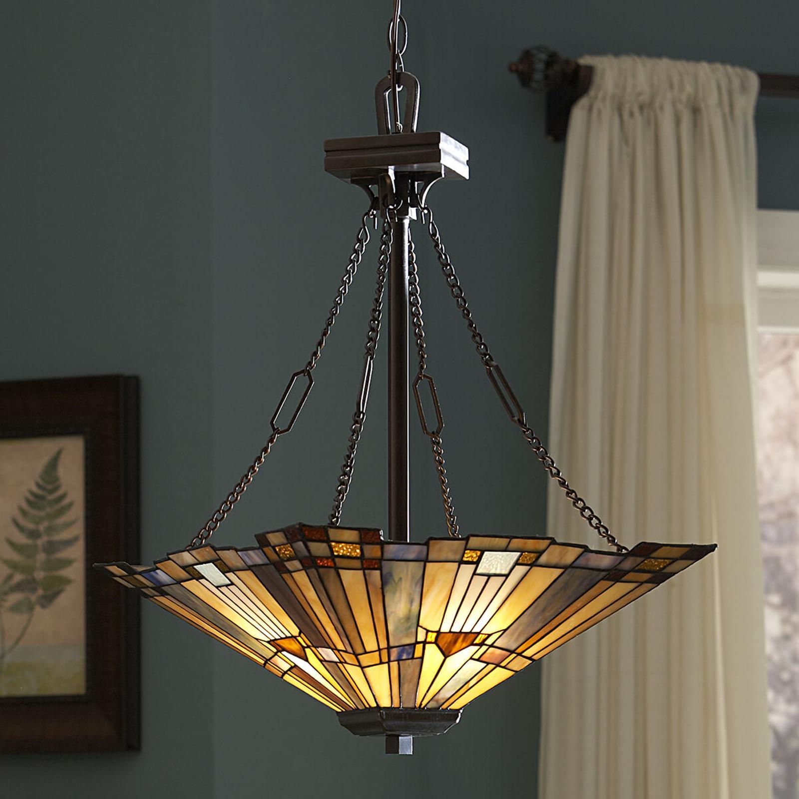 Inglenook hængelampe, farve. glas, længde 45 cm