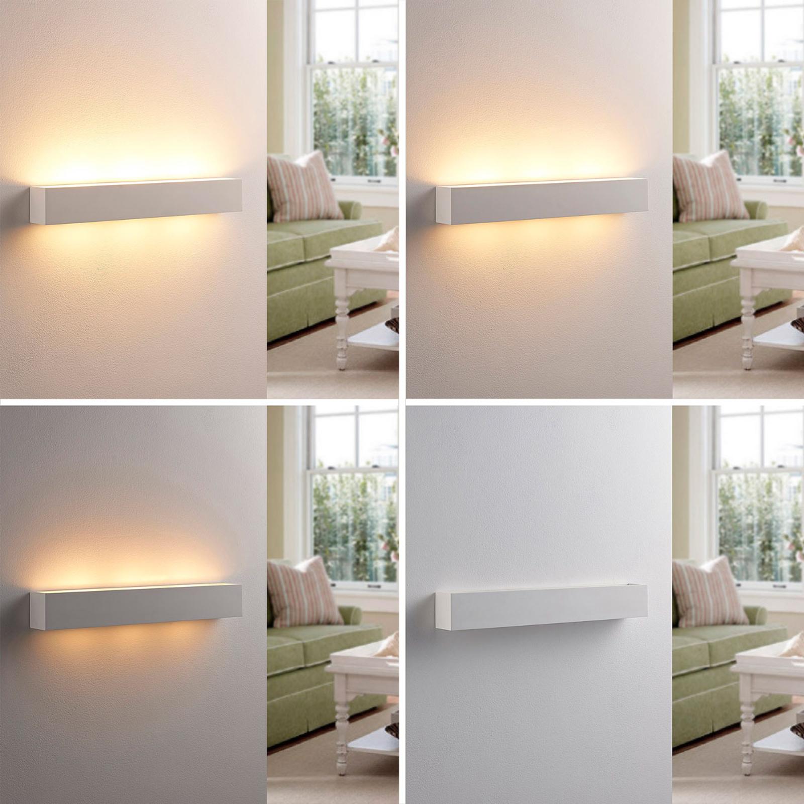 Tjada - langwerpige LED wandlamp van gips