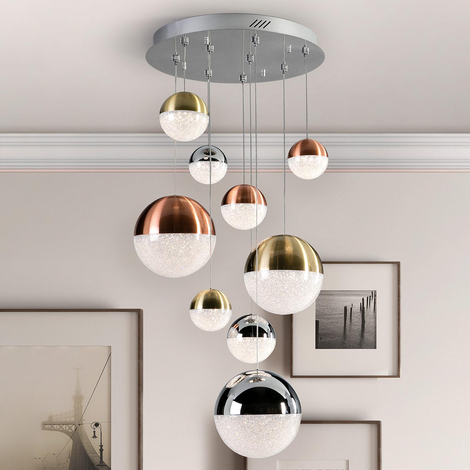 Sphere LED-hengelampe, flerfarget, 9 lyskilder