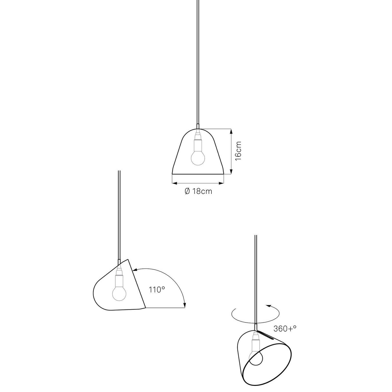 Nyta Tilt S hanglamp kabel 3m rood, grijs