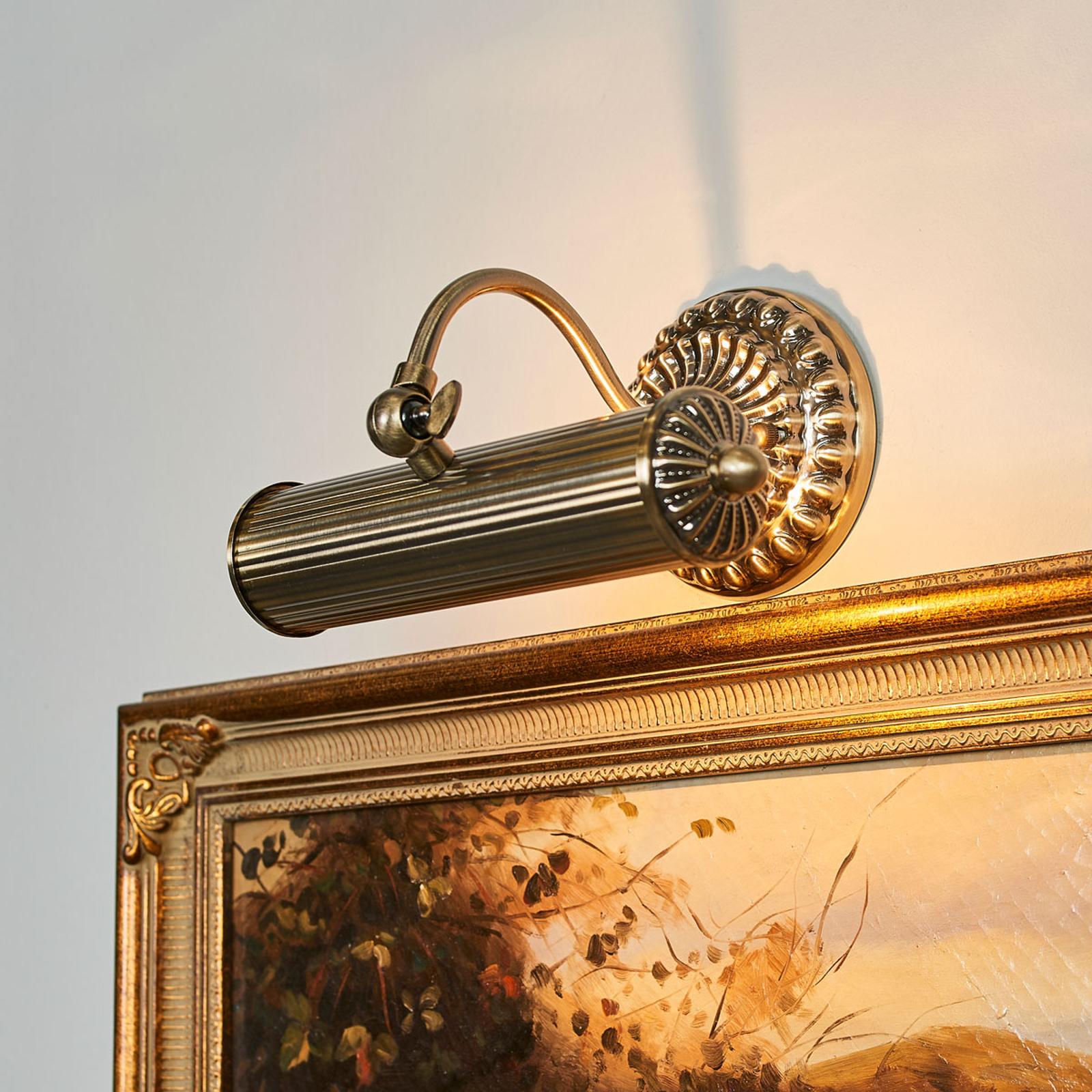 Antik aussehende Bilderlampe Joely, altmessing