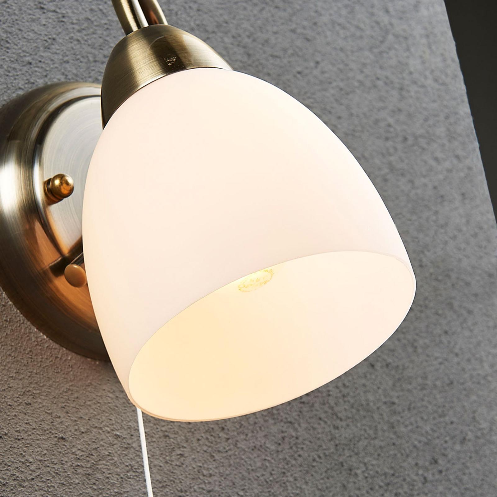 Wandleuchte Mael Altmessing Glas Weiß Wandlampe Zugschalter Lampenwelt Flur