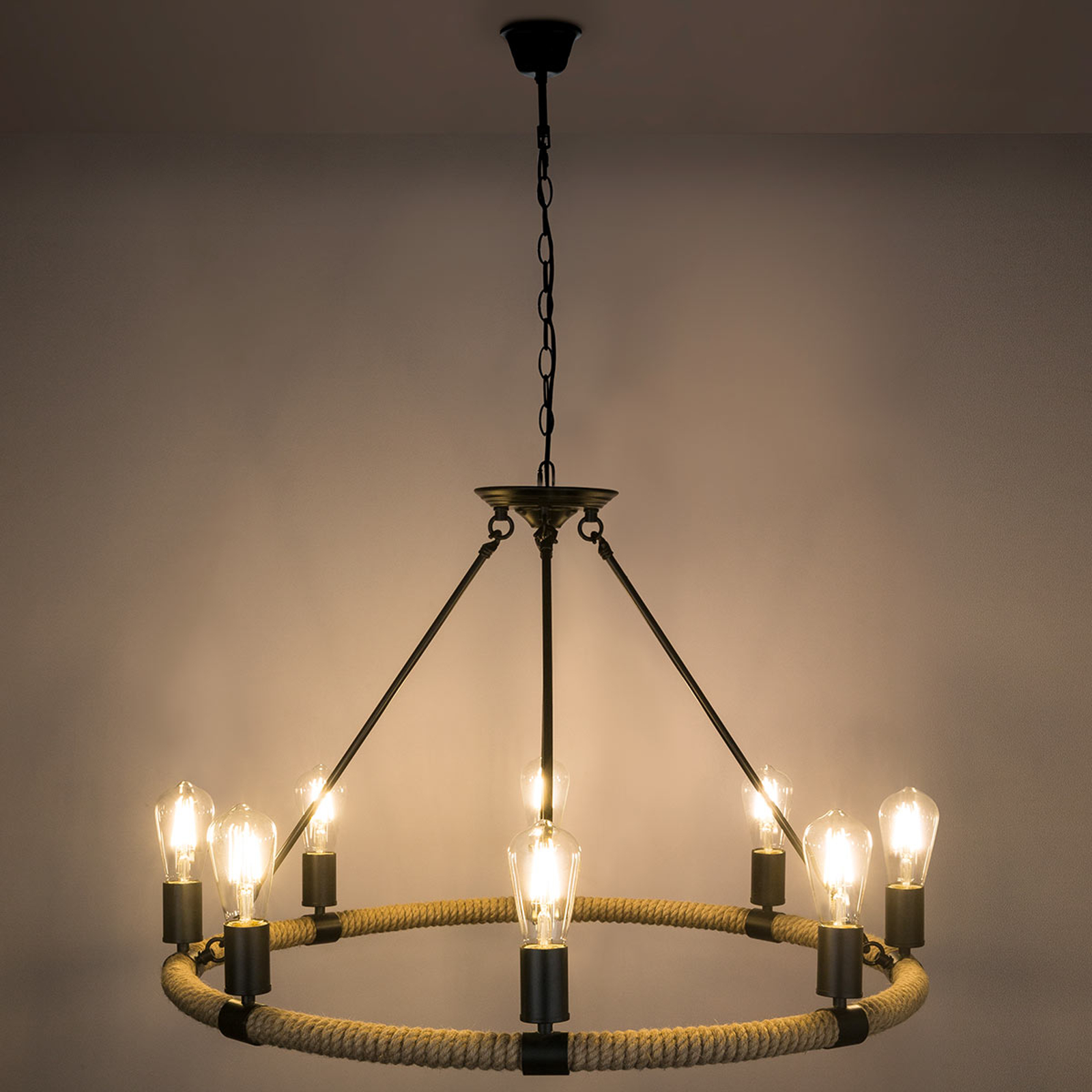 Runde LED-Pendellampe Ulleu mit Hanfseil 8-flg.