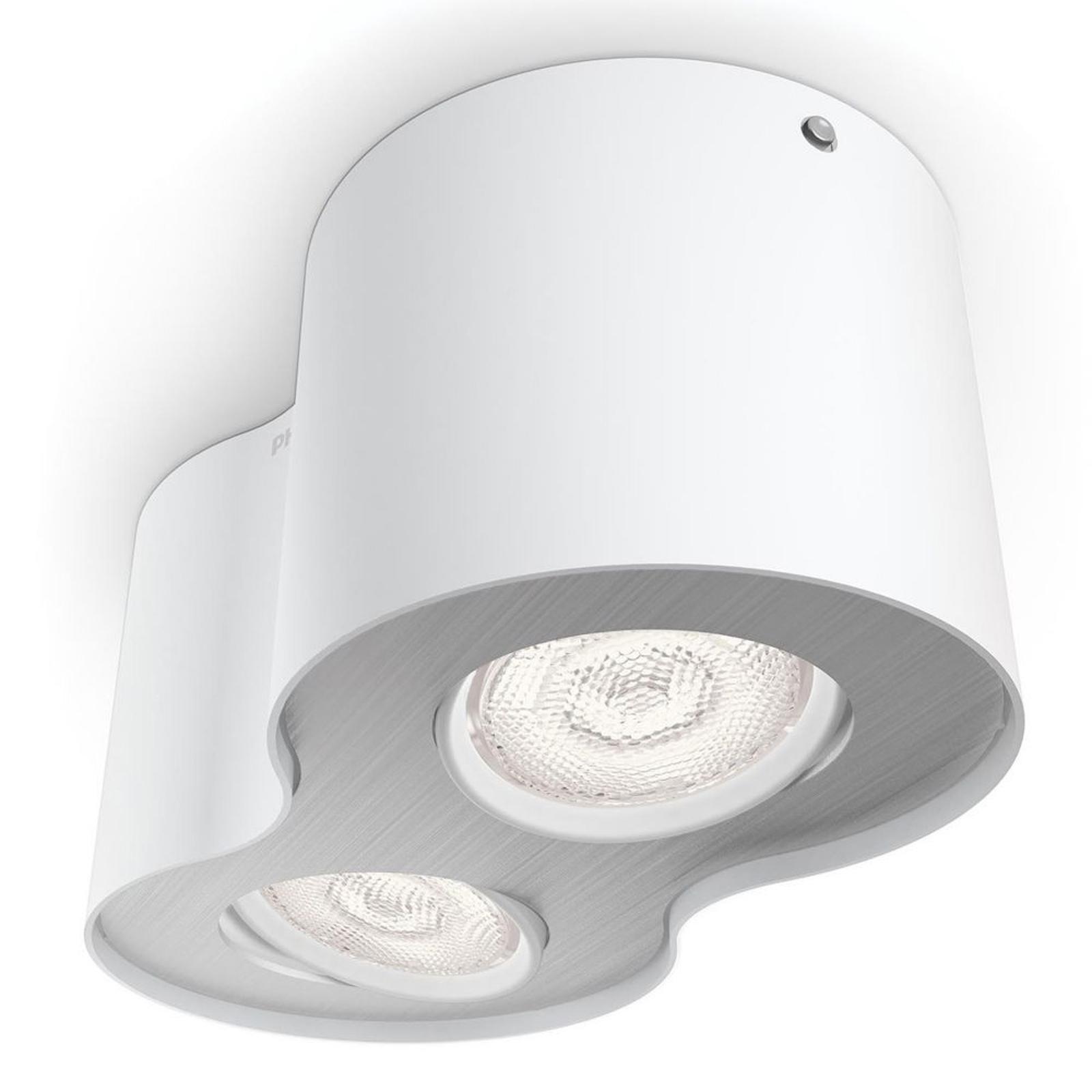 Kaksilamppuinen valkoinen LED-spottivalo Phase