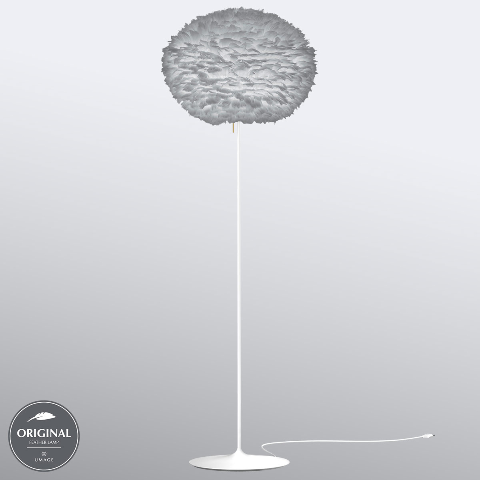 Ljusgrå gåsfjäderskärm – golvlampan Eos large