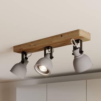 Lindby Mirka plafón LED, madera de pino, 3 luces