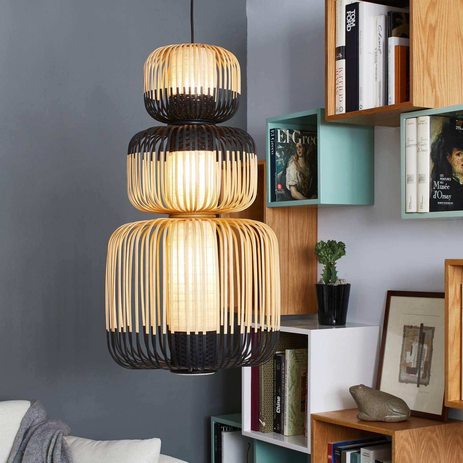 Forestier Bamboo suspension noire à 3 lampes