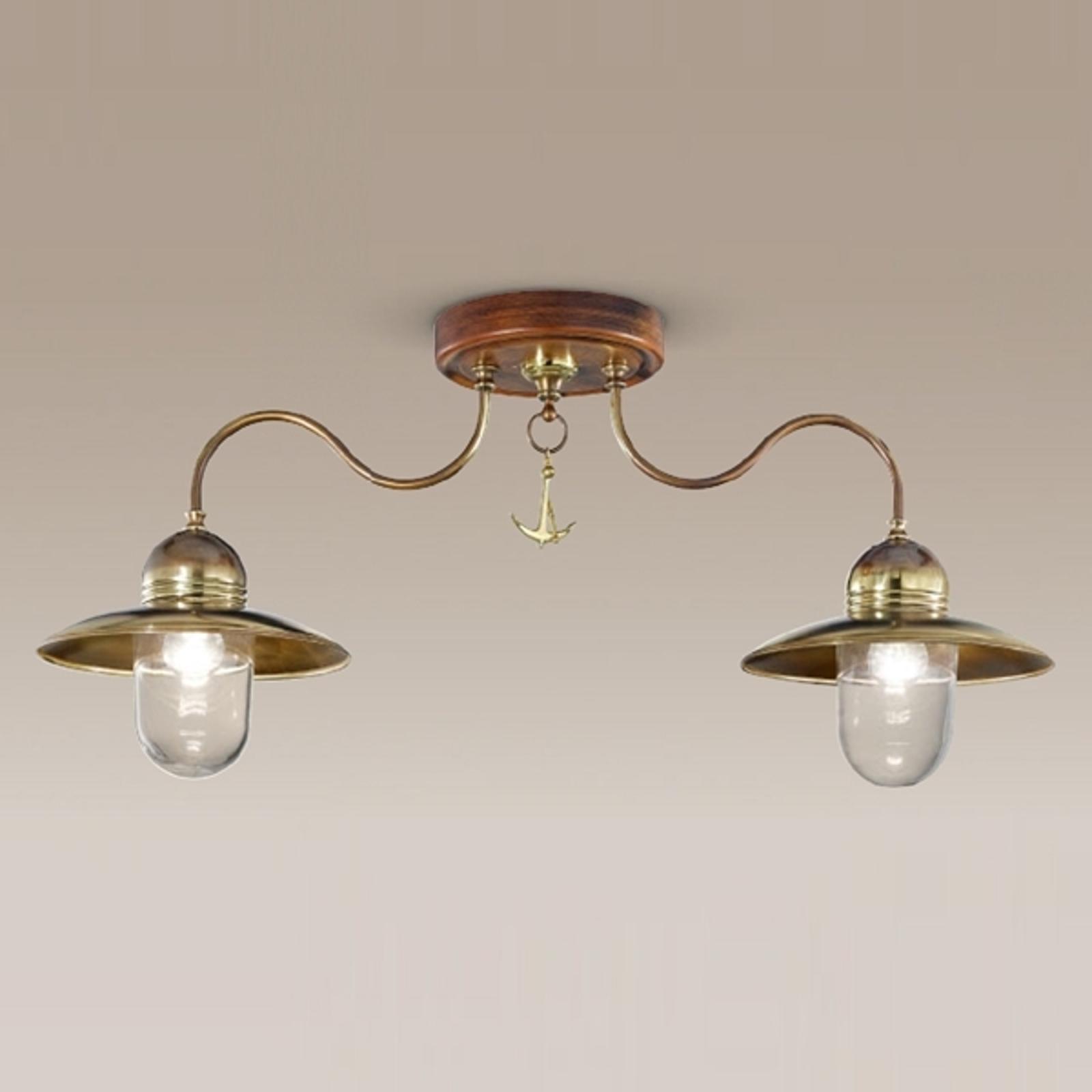 Dřevěné mosazné stropní světlo Faro