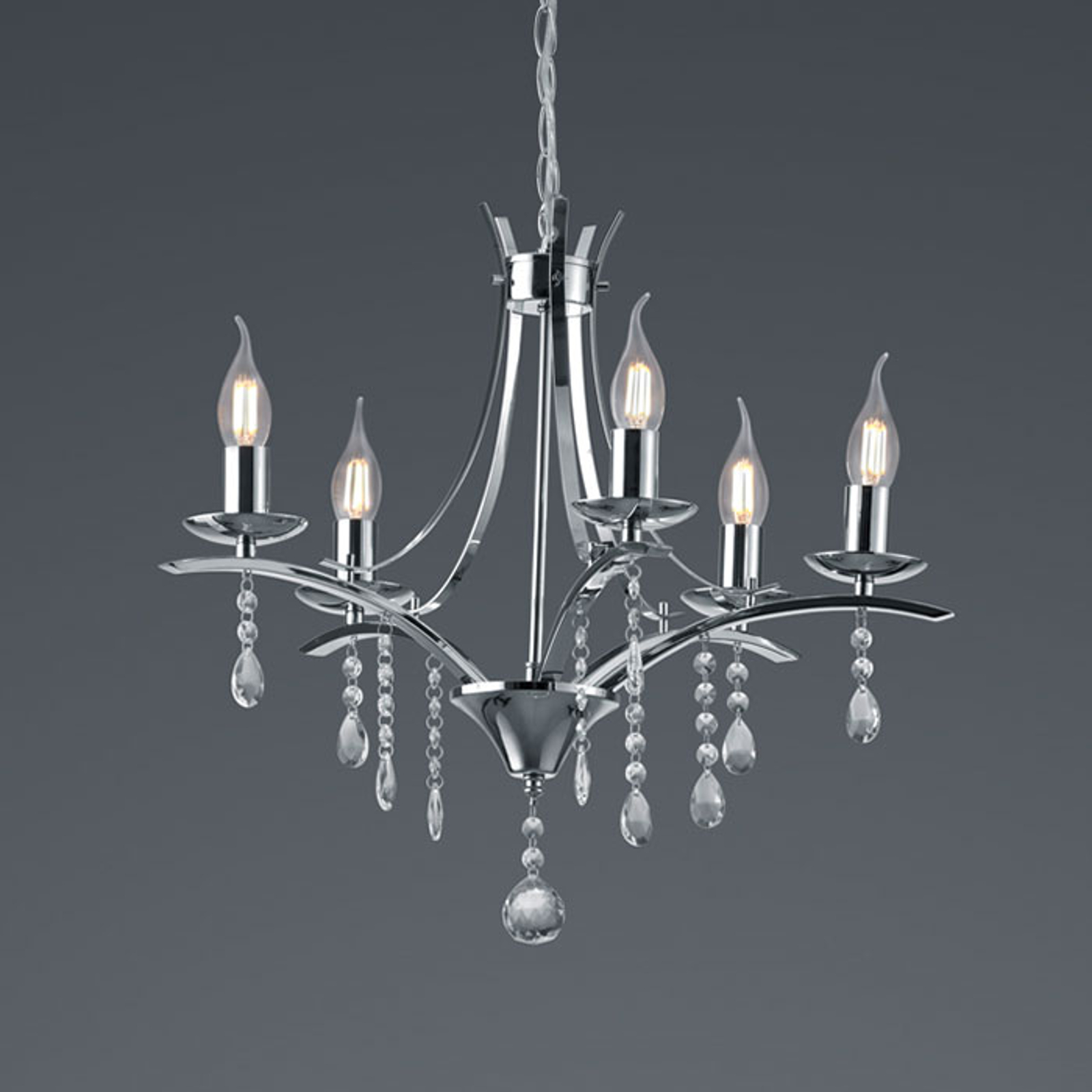 Applique Lucerna avec pendentif en verre, 5 lampes
