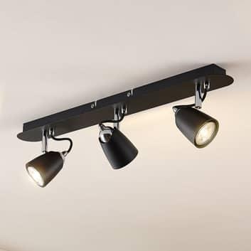 Lindby Noria takspotlight, svart, 3 lampor