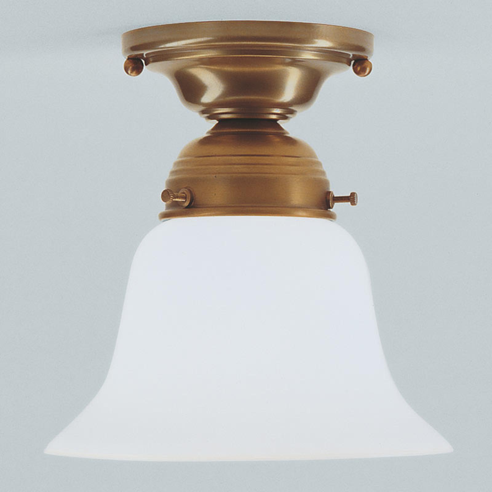 Messing plafondlamp Alena met glazen kap