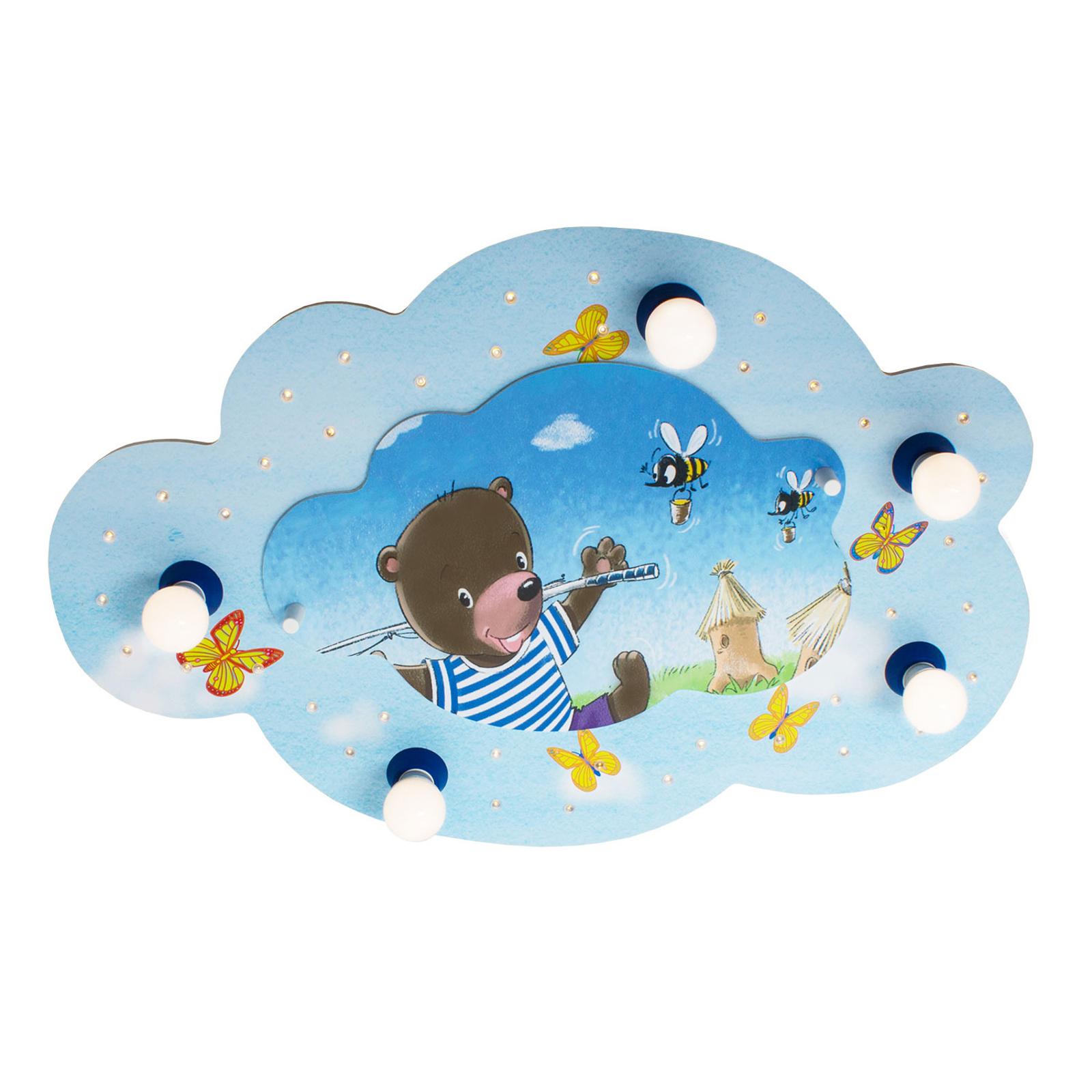 Deckenleuchte Bär mit Angel Bildwolke, blau