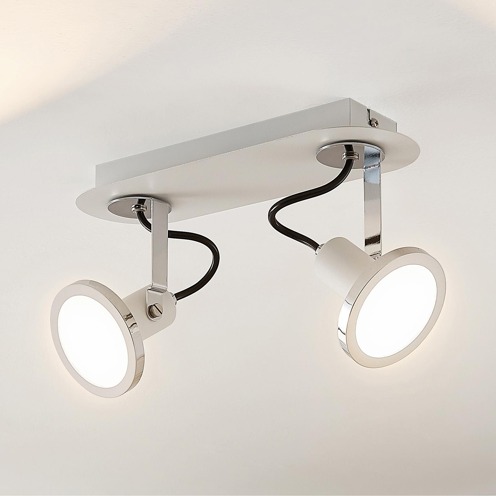 Lindby Theda LED-lyskaster, hvit, 2 lyskilder