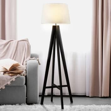 Textiel-staande lamp Maura met houten voet