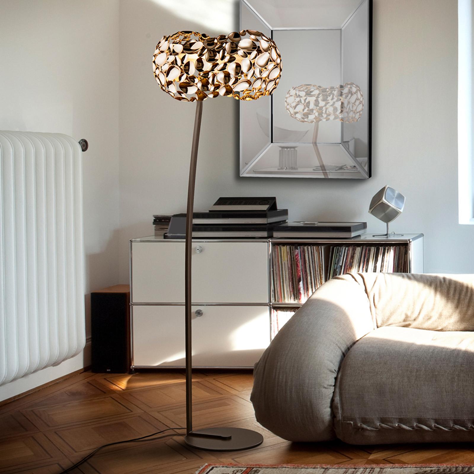 LED-golvlampa Narisa, roséguld/brun