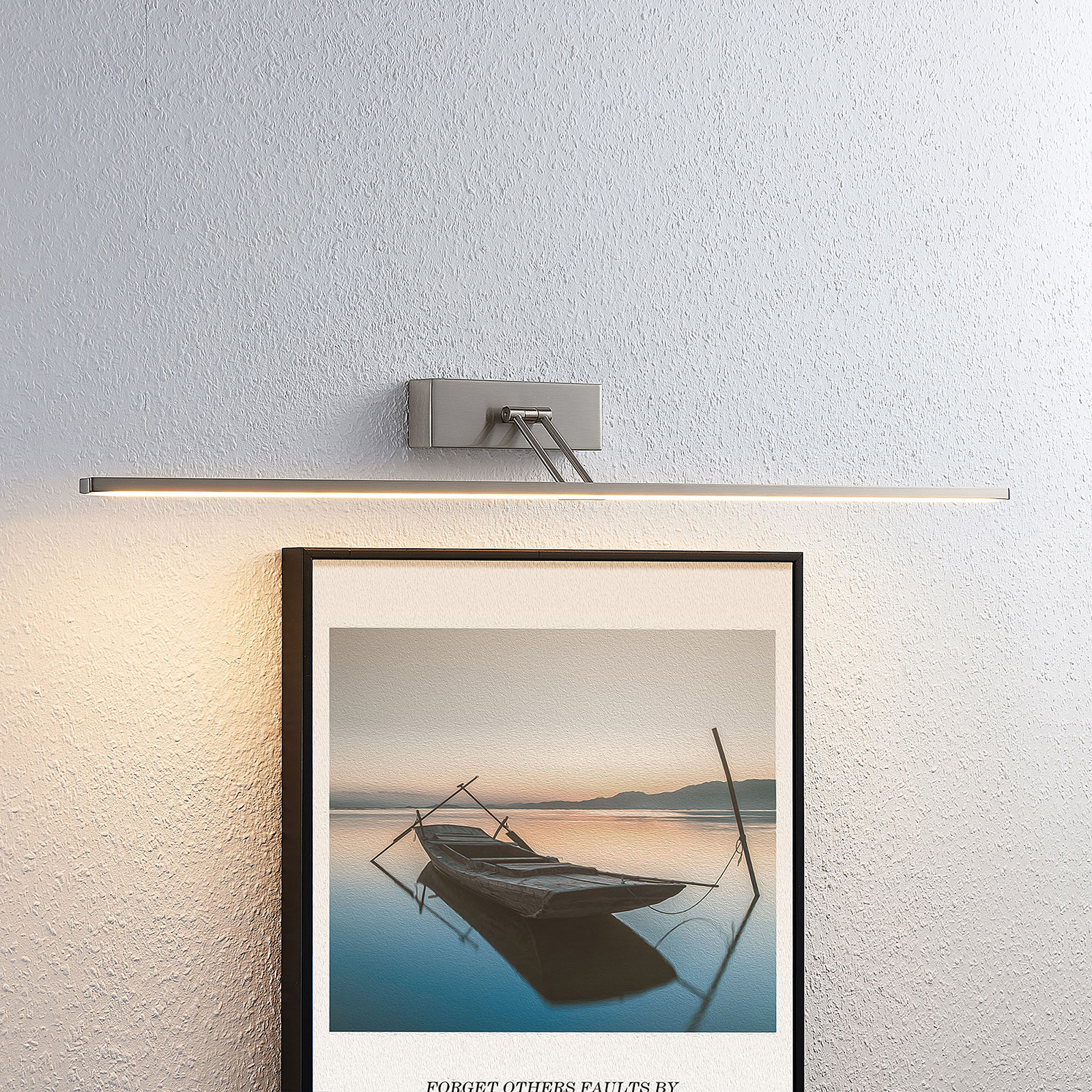 Lucande Thibaud LED-tavelbelysning, nickel 83,4 cm
