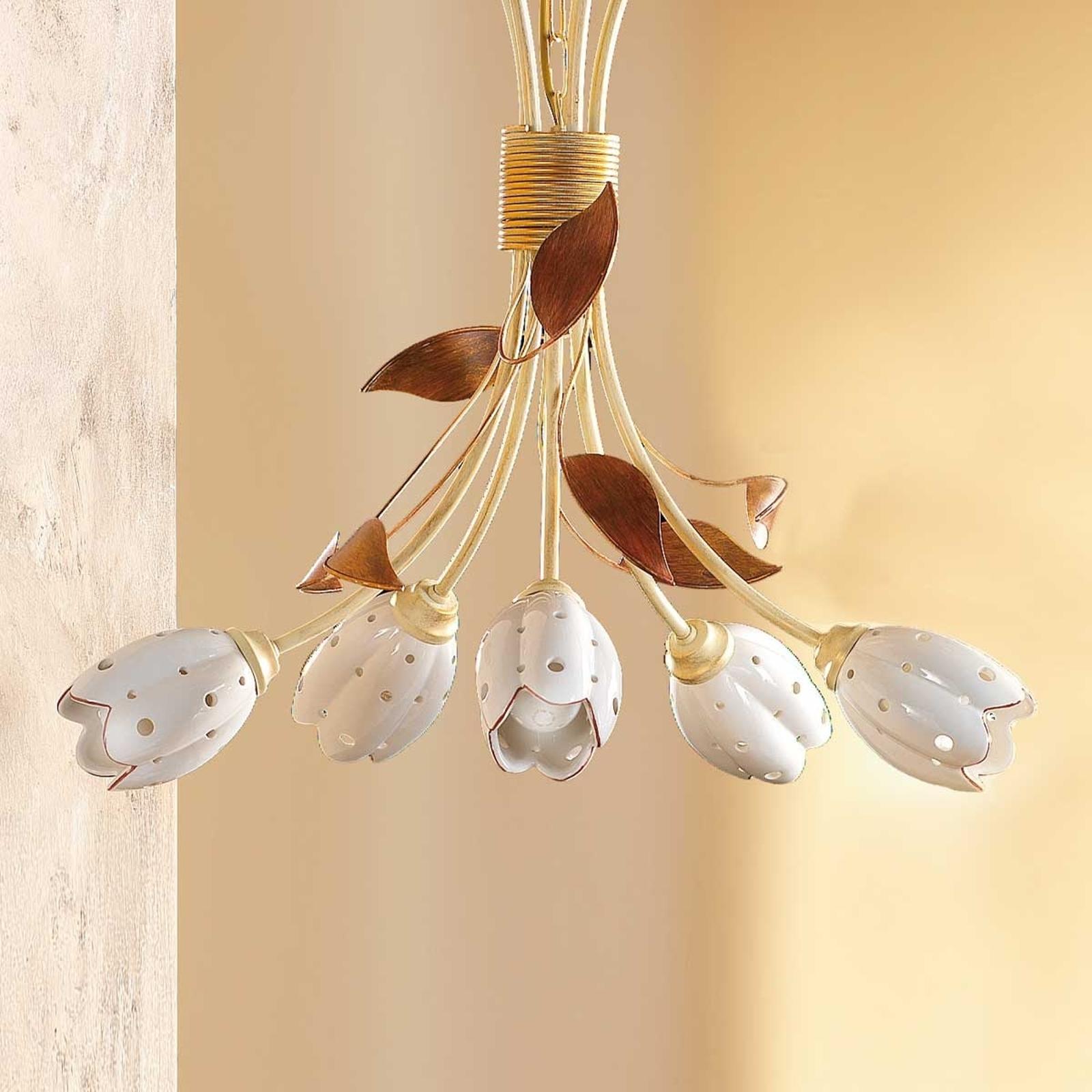 Lampada sospesa floreale TULIPANO, 5 punti luce