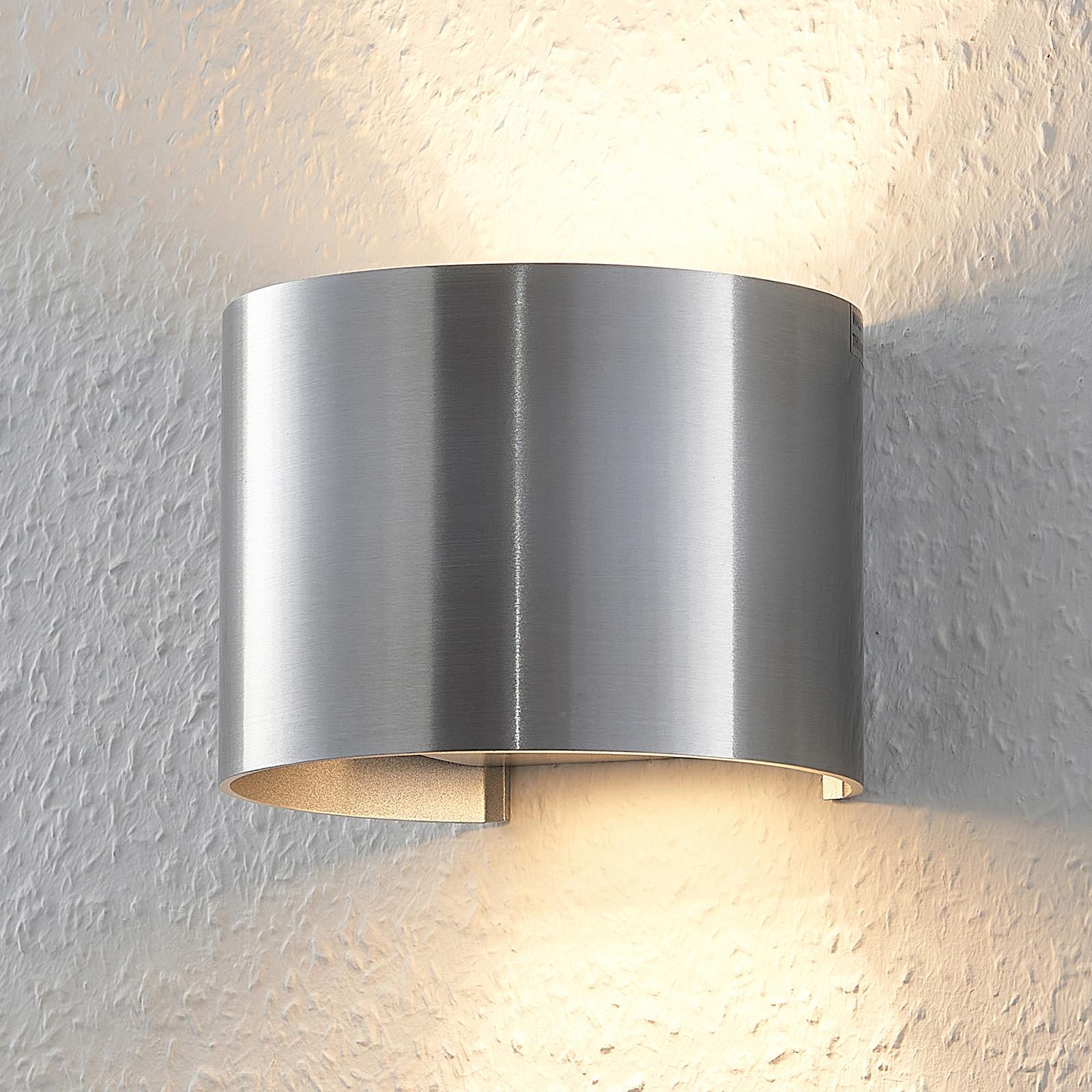 Alufarbene LED-Wandlampe Zuzana in Rundform
