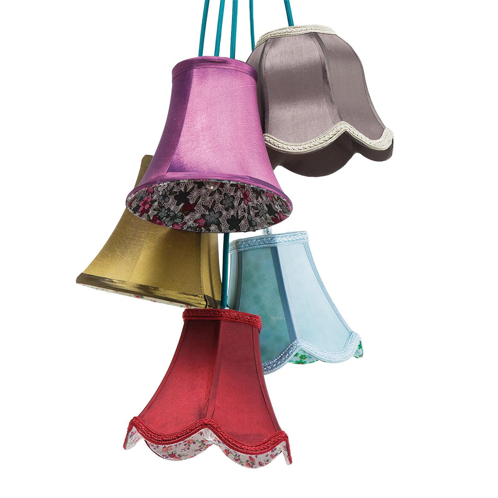 Kare Saloon Flowers design hengelampe, 5 lys | Lampegiganten.no