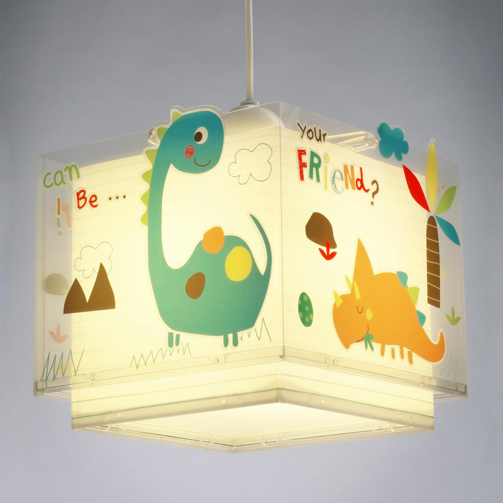 Dinos hængelampe til børneværelse, farverig