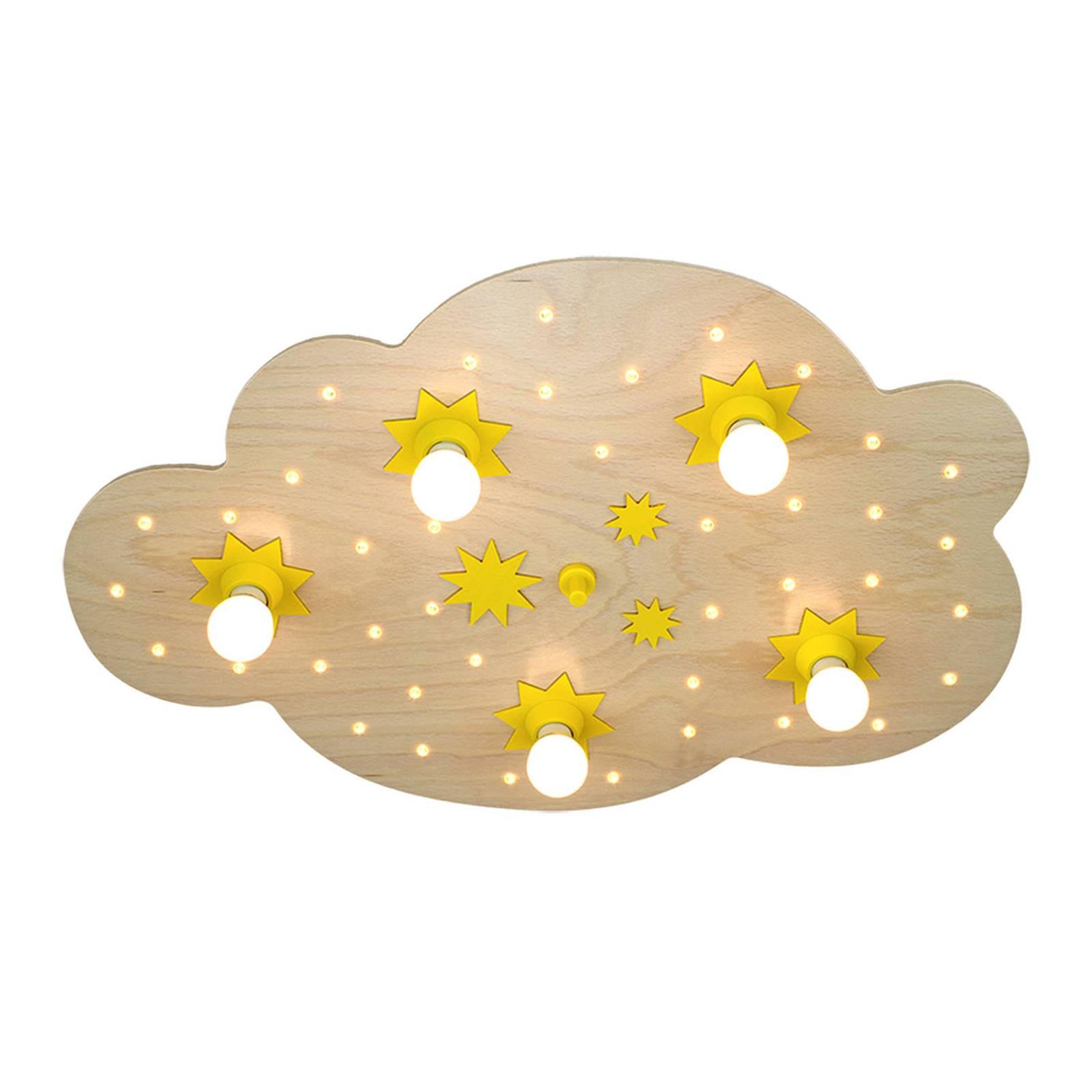 Deckenleuchte Sternenwolke, in Buche natur, 75 cm