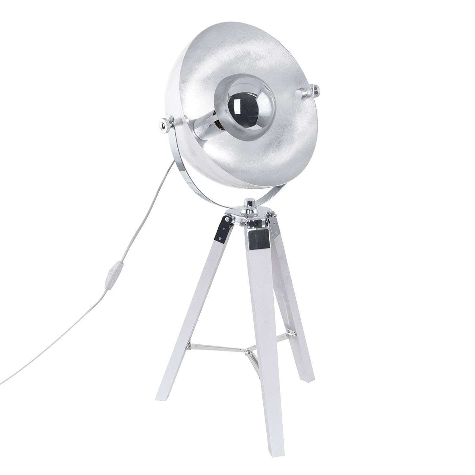 Covaleda - trebent bordslampa i vit-silver