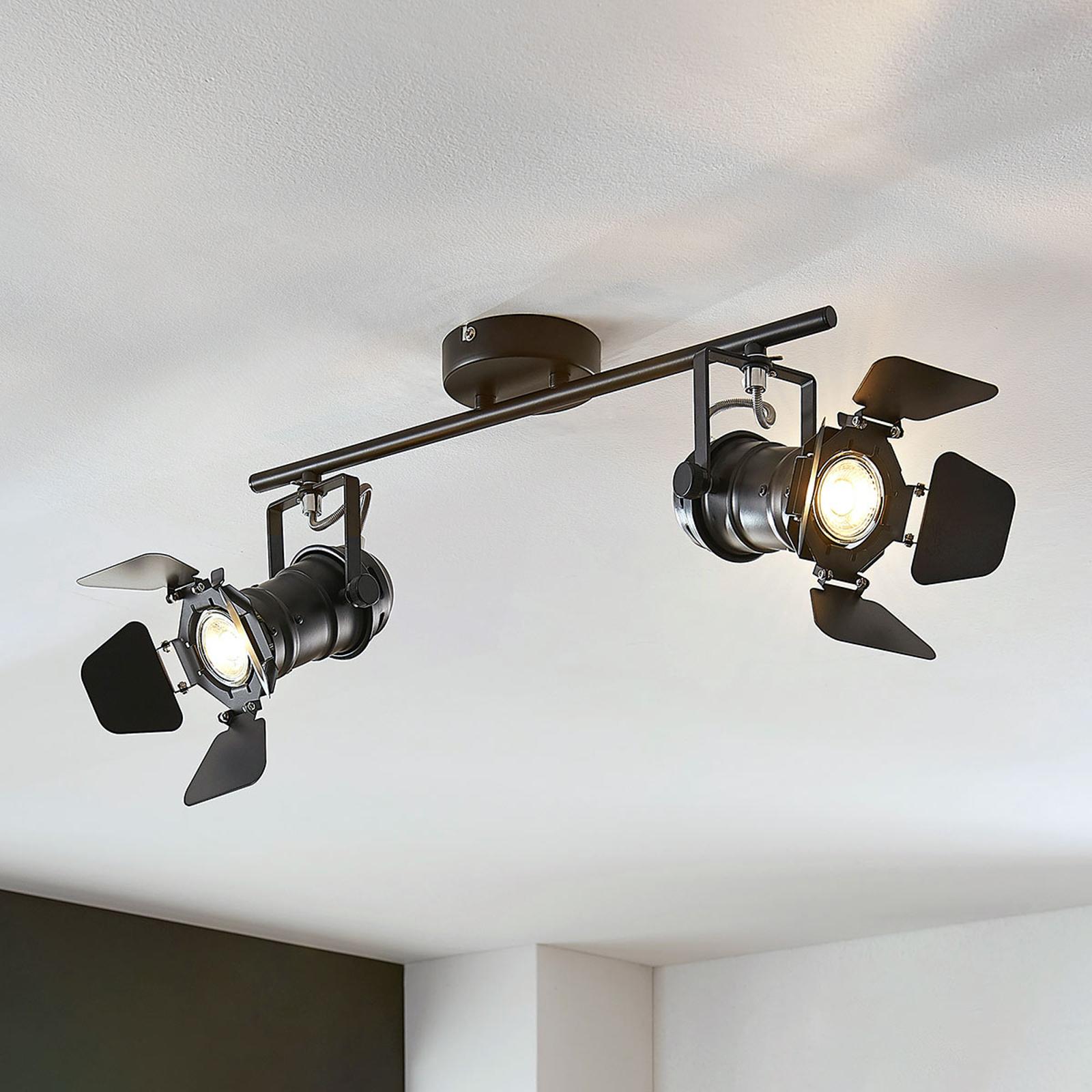 Plafonnier Tilen, à 2 lampes, aspect projecteur