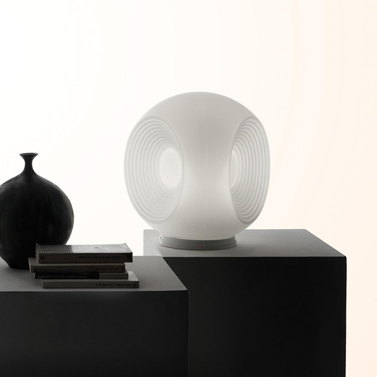 Fabbian Eyes – biela sklenená stolná lampa