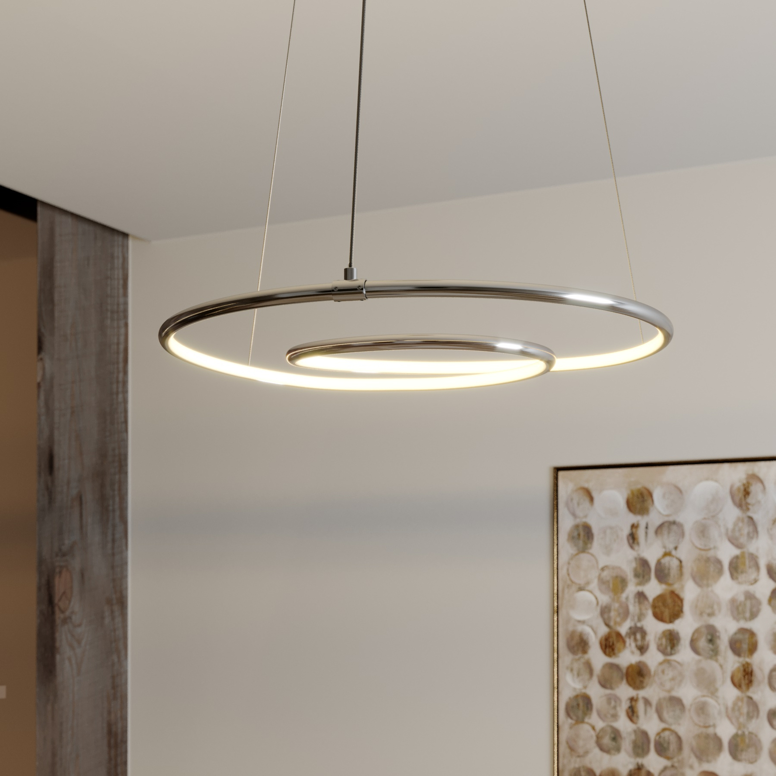 Lindby Lucy suspension LED, 45 cm, chromé
