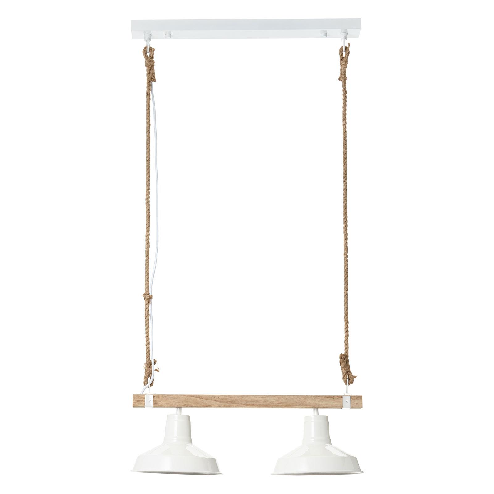 Lampa wisząca Hank z drewnem, 2-punktowa