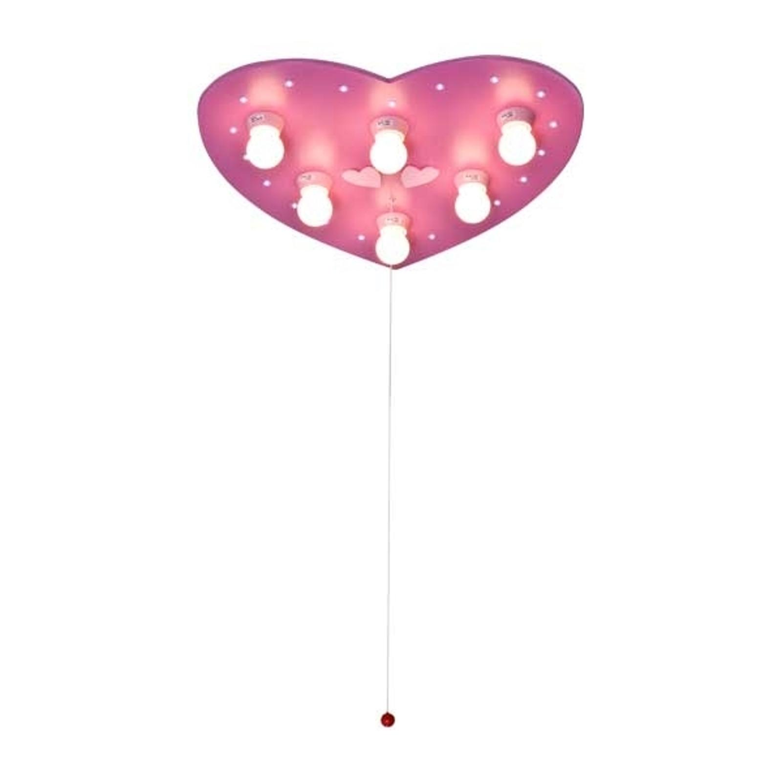 Plafonnier rose HERZ avec un éclairage LED