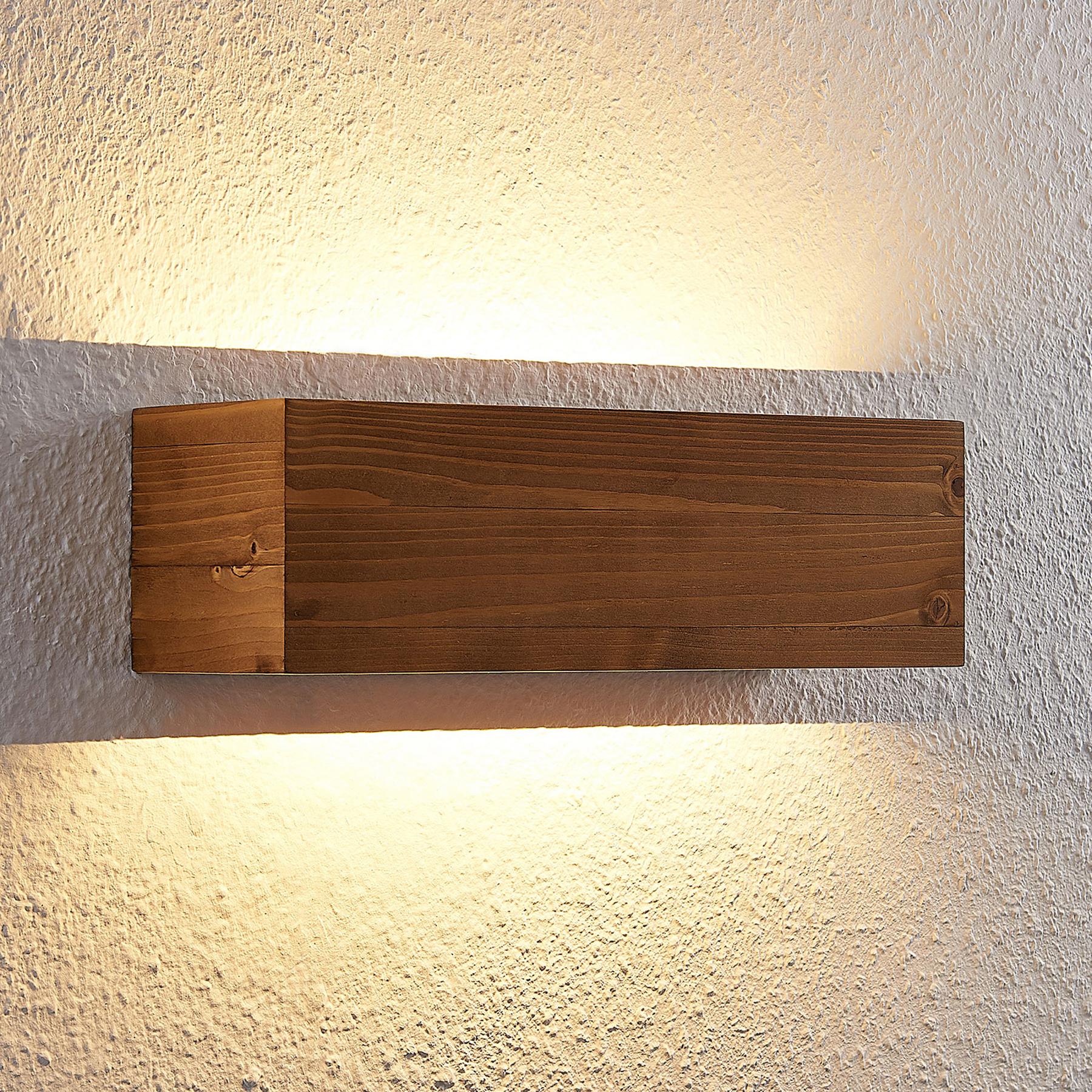 Lindby Lindby Benicio dřevěné LED nástěnné světlo, 37 cm