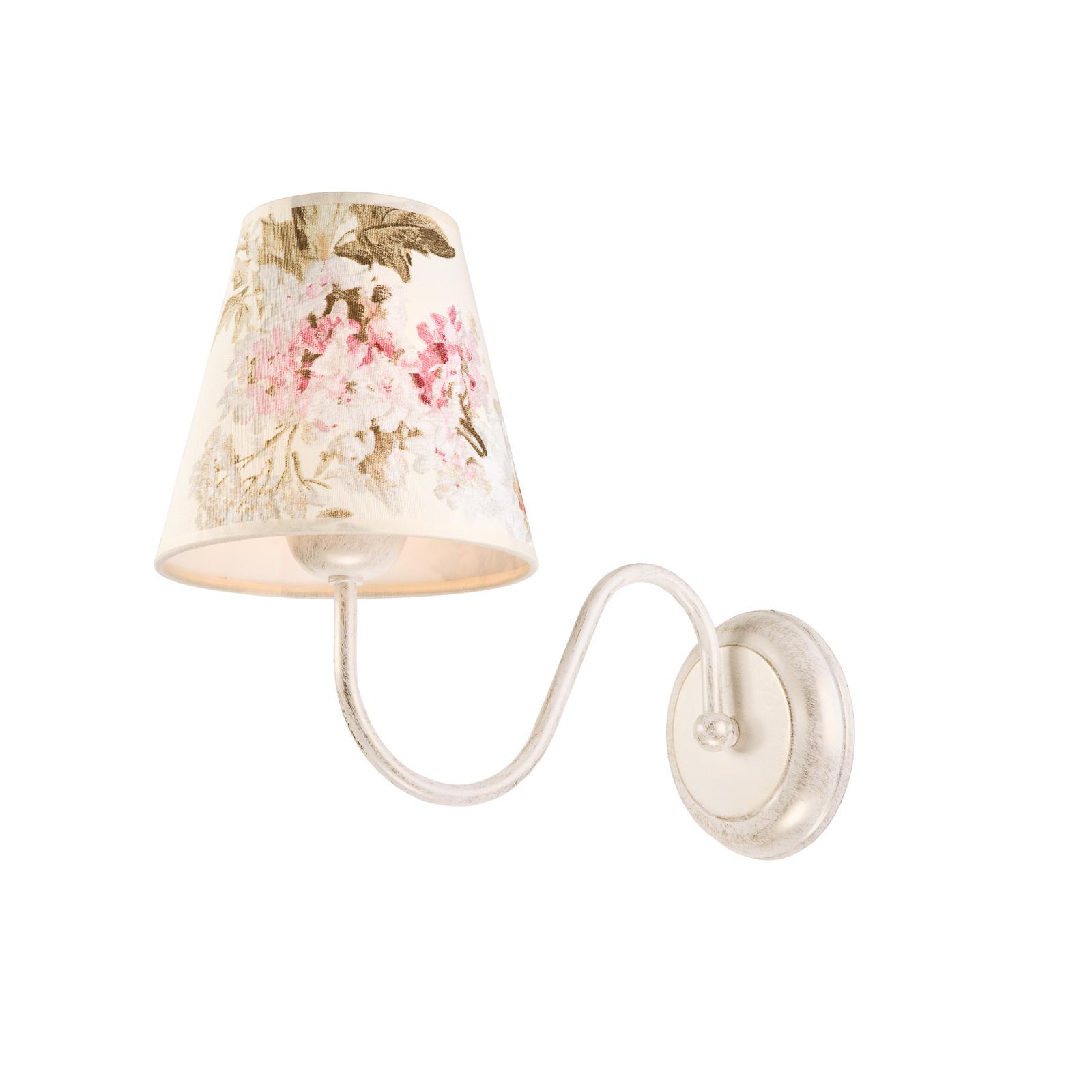 Lampa ścienna Sara, zadrukowany klosz z tkaniny