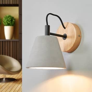 Applique Possio avec abat-jour en béton et bois