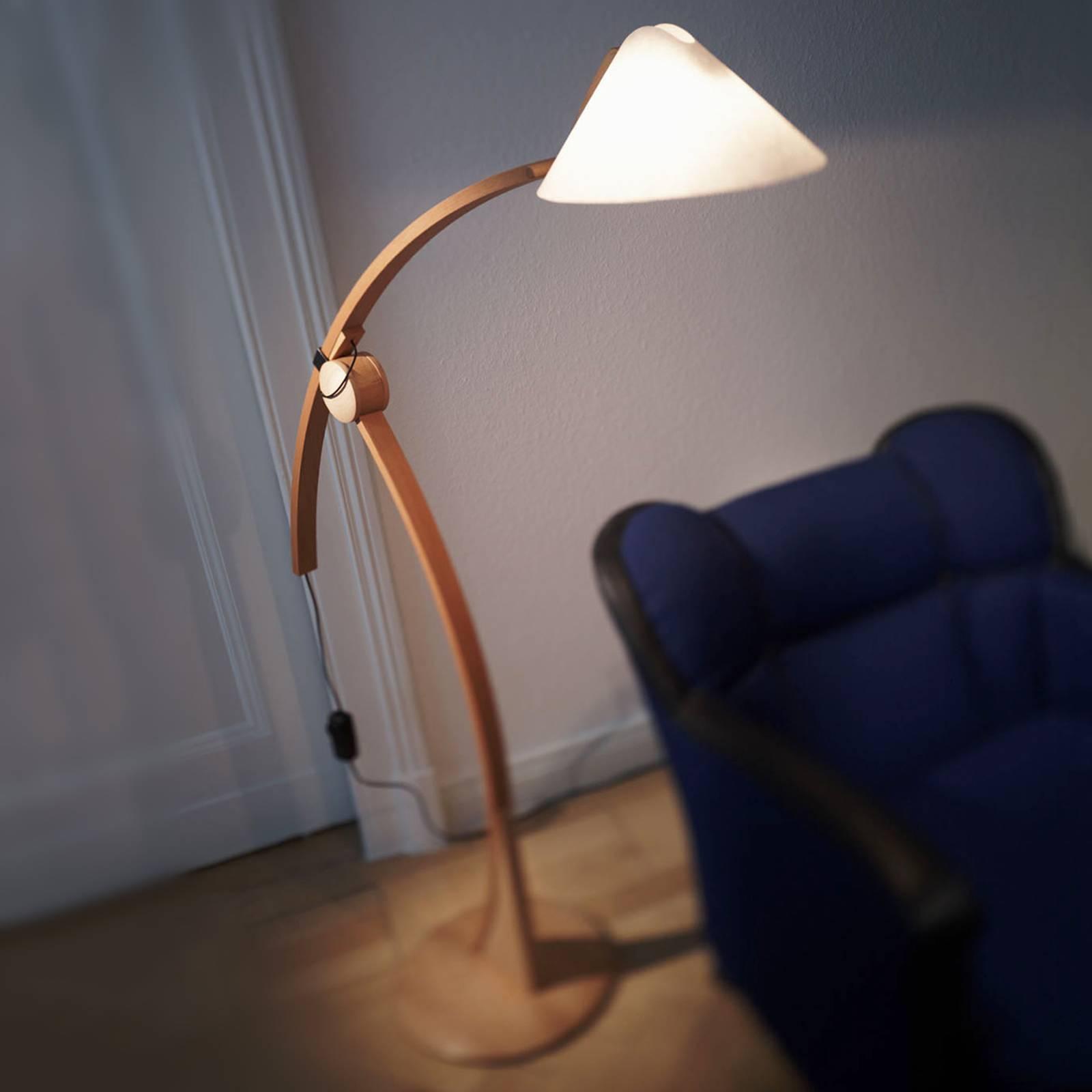 Vloerlamp Pollo E27 in beukenhout, dimbaar