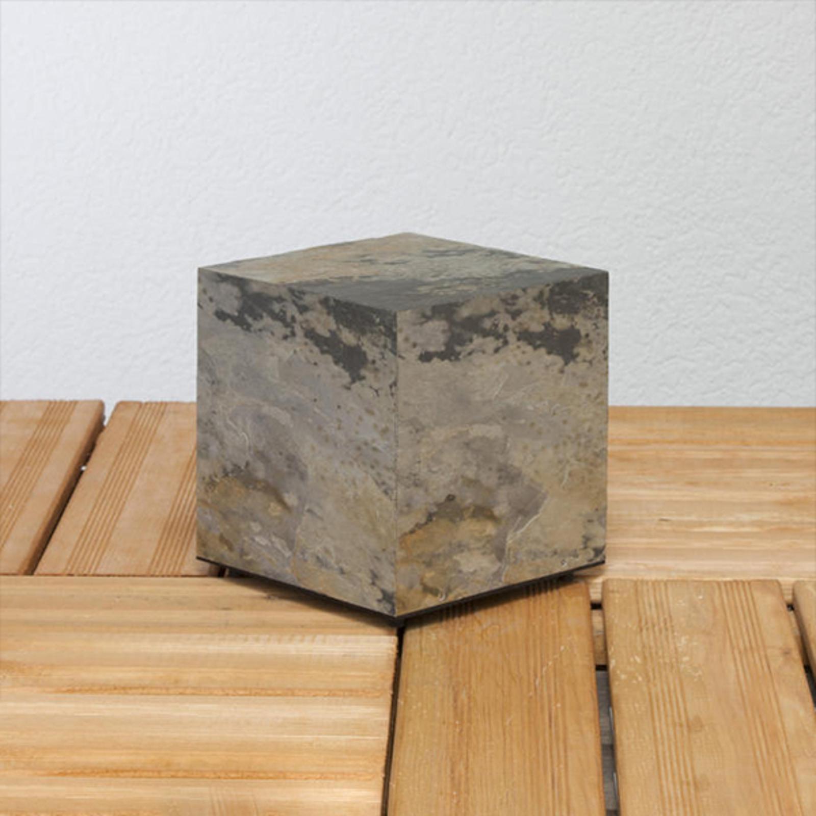 Svetlo v tvare kocky v prírodnej bridlici 19cm