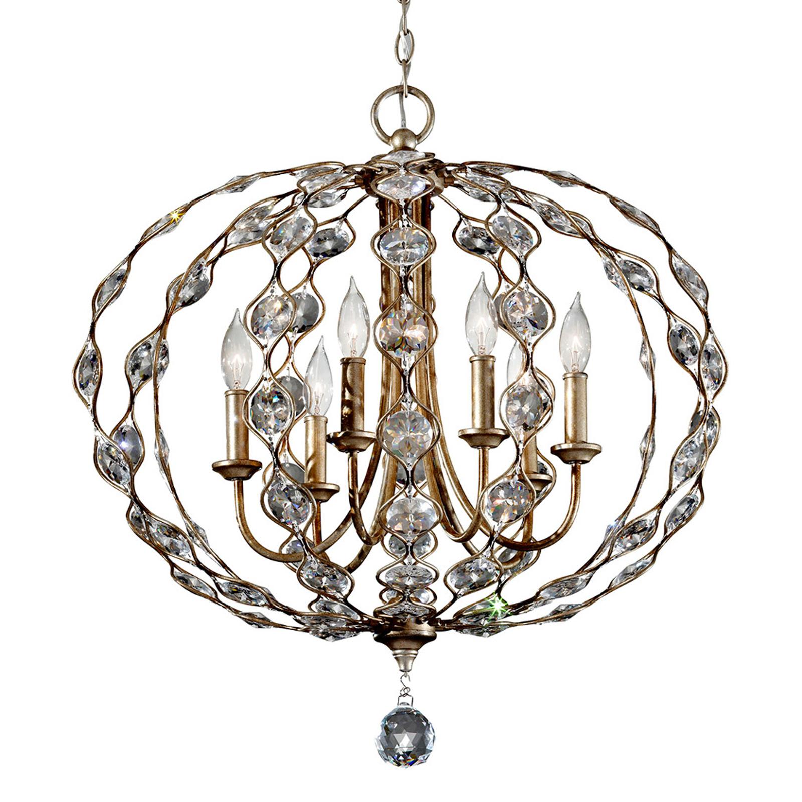 Zdobiony kryształowy żyrandol Leila 6-punktowy